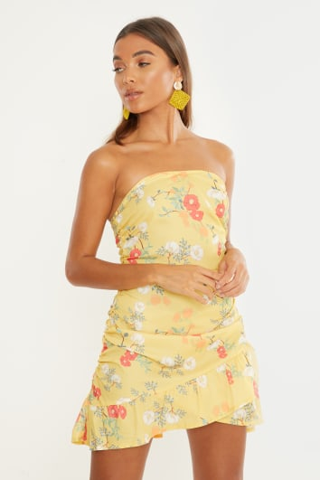 yellow floral ruched bandeau mini dress