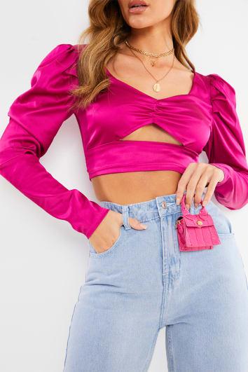 MAGENTA SATIN CUT OUT PUFF LONG SLEEVE CROP TOP