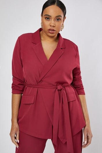 CURVE KENDEAL RASPBERRY TIE CO-ORD BLAZER