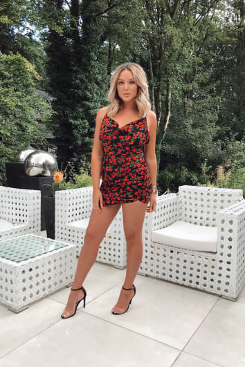 CHARLOTTE CROSBY RED FLORAL PRINT COWL NECK THIGH SPLIT DRESS