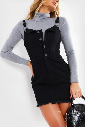 BLACK PINAFORE DENIM MINI DRESS