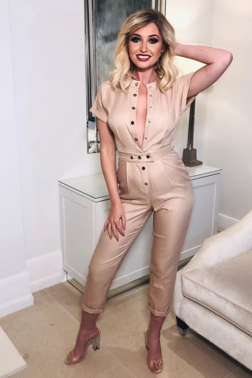 STONE BELTED SHORT SLEEVE UTILITY JUMPSUIT