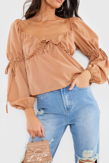 TAN MILKMAID FLARE SLEEVE TOP