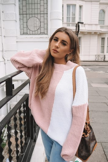 DANI DYER PINK AND WHITE COLOUR BLOCK KNIT JUMPER