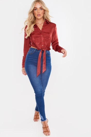 LAILA LOVES RUST SATIN TIE FRONT BUTTON UP SHIRT