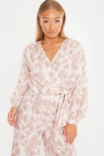 LAILA LOVES CREAM ORNATE FLORAL TIE SIDE WRAP TOP