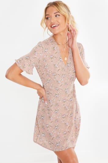 nude floral wrap mini dress