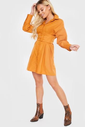 RUST BELTED POPLIN SHIRT DRESS