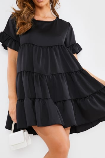 BLACK SATIN SMOCK TIERED FRILL MINI DRESS