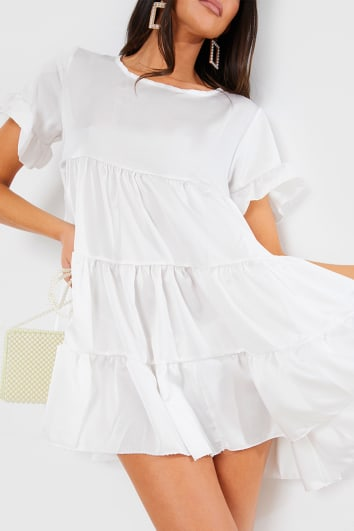 WHITE SATIN SMOCK TIERED FRILL MINI DRESS