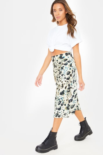 SURRO SMUDGE ANIMAL PRINT SATIN MIDI SKIRT