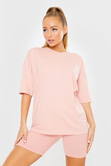 PINK OVERSIZED SLOUCHY T SHIRT
