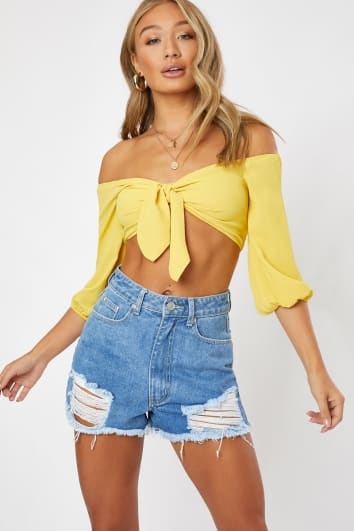 yellow tie front shirred back crop top