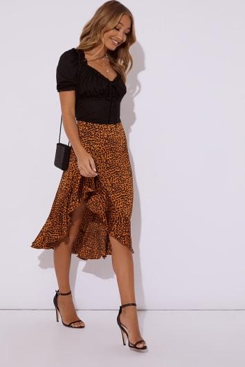 orange leopard print satin wrap front midi skirt