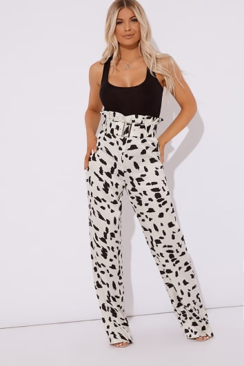 dalmation print paperbag waist buckle detail wide leg trousers