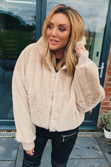 CHARLOTTE CROSBY CAMEL FAUX FUR HOODED BOMBER JACKET