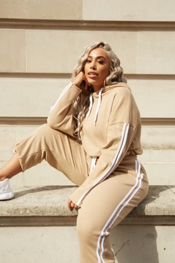 CURVE LAILA LOVES CAMEL STRIPE SIDE CO-ORD JOGGERS