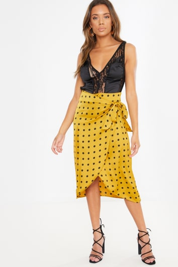 mustard polka dot wrap midi skirt