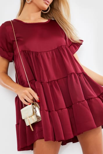 BURGUNDY SATIN SMOCK TIERED FRILL MINI DRESS
