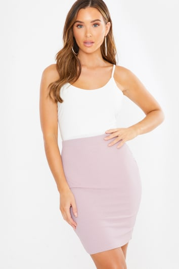 mauve ribbed mini skirt