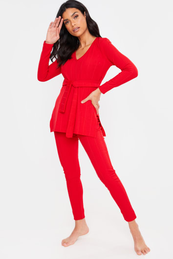 RED RIBBED V NECK TIE FRONT DETAIL TOP AND BOTTOMS LOUNGEWEAR SET