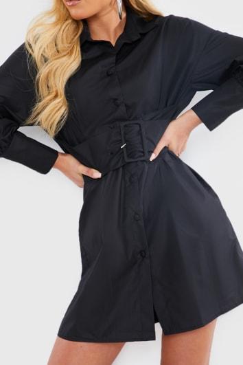 BLACK BELTED POPLIN SHIRT DRESS