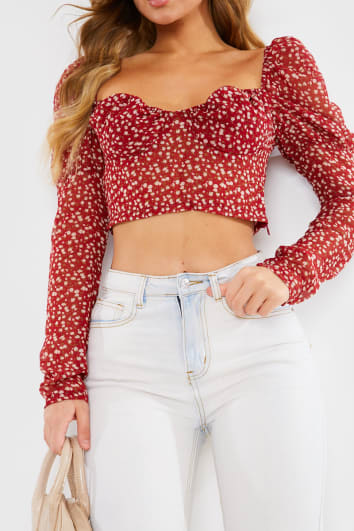 RED DITSY FLORAL SHEER PUFF SLEEVE CROP TOP