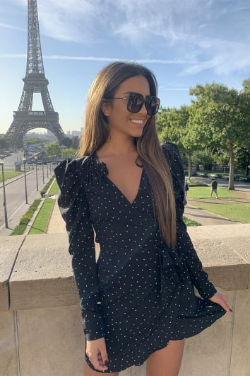 STEPHSA BLACK POLKA DOT PUFF SLEEVE PLUNGE WRAP DRESS