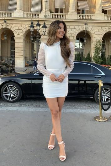 STEPHSA WHITE ORGANZA HIGH NECK RUCHED MINI DRESS