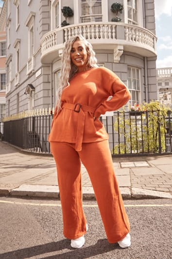 CURVE LAILA LOVES RUST ORANGE WIDE LEG CO-ORD TROUSER
