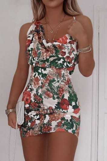 FASHION INFLUX WHITE FLORAL SATIN ASYMMETRIC COWL NECK MINI DRESS