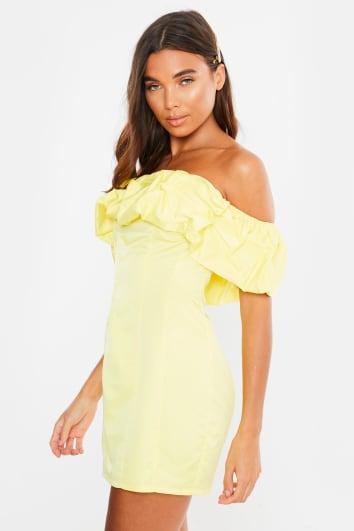 yellow extreme frill ruched bardot dress