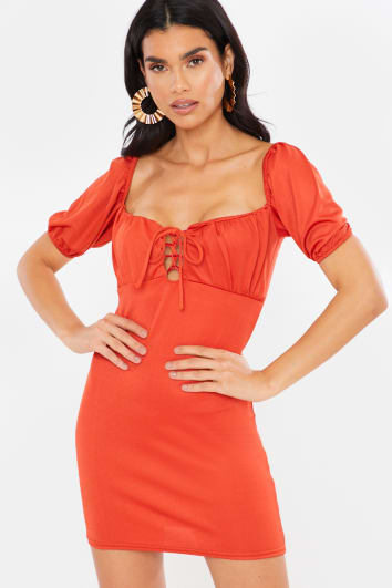 RUST MILKMAID LACE UP TIE FRONT DETAIL MINI DRESS