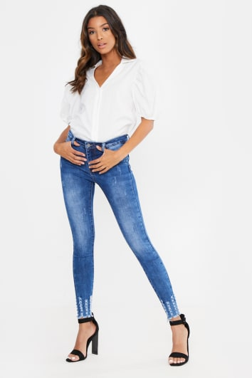 BLUE HIGH WAIST FRAYED DETAIL HEM SKINNY JEANS