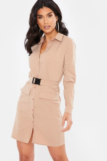 NUDE BUCKLE BELT UTILITY DRESS