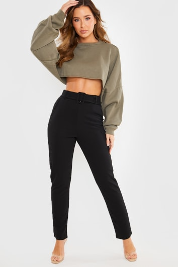 BLACK BELTED CIGARETTE TROUSERS