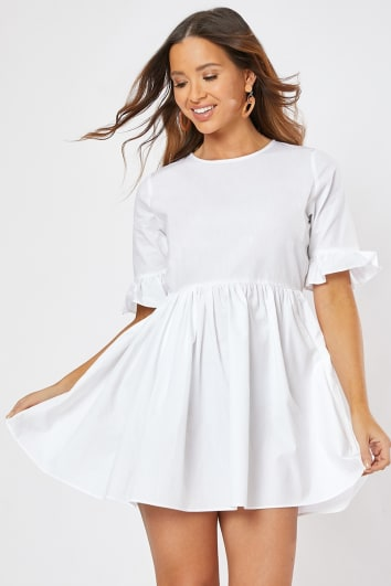 white poplin frill sleeve smock mini dress