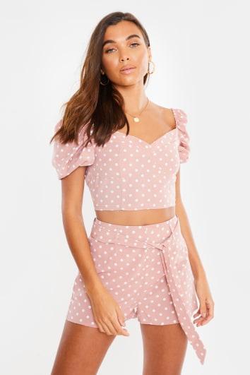 pink polka dot puff sleeve crop top and shorts co ord