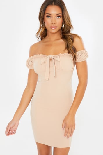 NUDE BARDOT PUFF SLEEVE TIE FRONT MINI DRESS