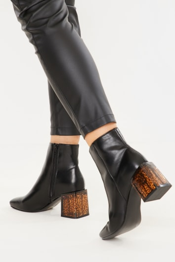 BLACK PU SEAM DETAIL ANKLE BOOTS