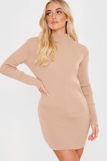 CAMEL RIBBED HIGH NECK MINI DRESS