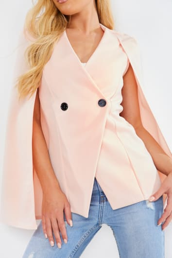 BLUSH SCUBA CREPE LONGER LINE CAPE BLAZER