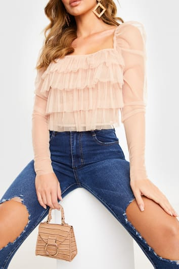 NUDE TULLE FRILL PUFF SLEEVE TOP