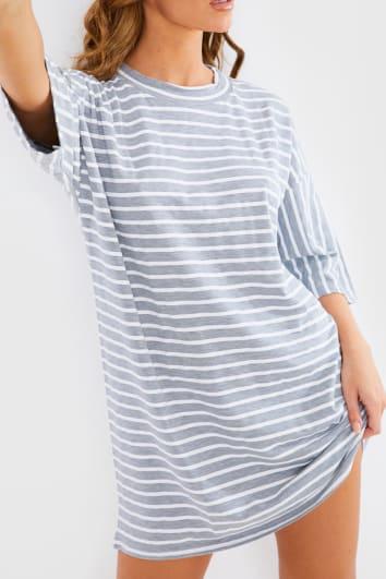 GREY STRIPED T-SHIRT DRESS