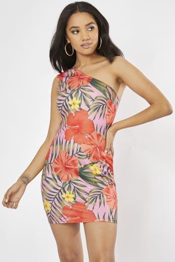 pink tropical print one shoulder mini dress