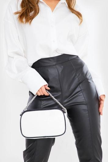 WHITE CROC SILVER CHAIN BAG