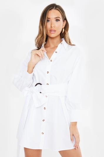white tie waist shirt dress