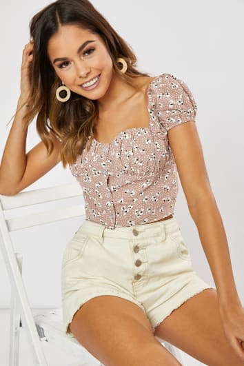 blush ditsy floral puff sleeve crop top