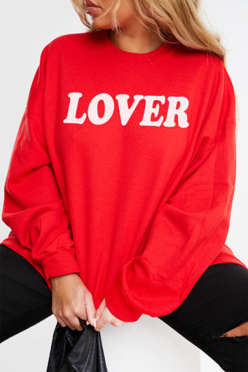 CURVE CHARLOTTE CROSBY RED 'LOVER' SLOGAN SWEATSHIRT