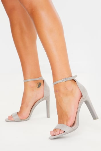 grey barely there chunky heel faux suede heels